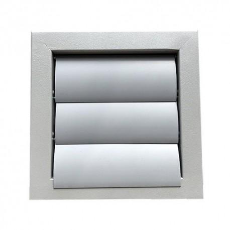 Kovová větrací mřížka se samotížnou žaluzií 385x385 mm, šedá
