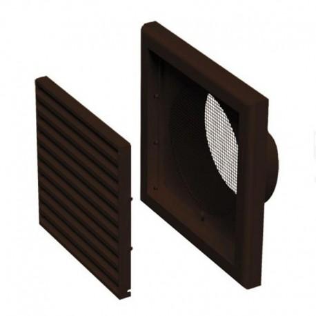 Větrací mřížka plastová 154x154mm s přírubou Ø100mm hnědá MV100V
